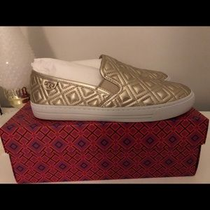 New in box Tory Burch Gold Sneakers 7.5